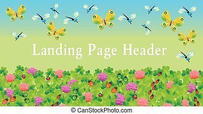 lending page header. with bugs and butterfly in green summer grass