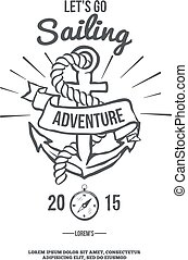 Lets go Sailing. Anchor with Banner. Vector