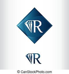 Letter R and Diamond shape, Luxury Creative Logo