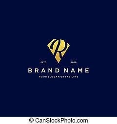 letter R diamond gold logo design