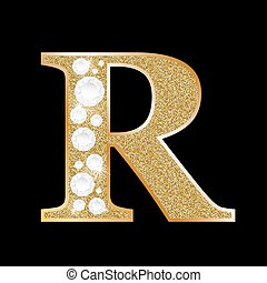 Letter R of gold and diamond