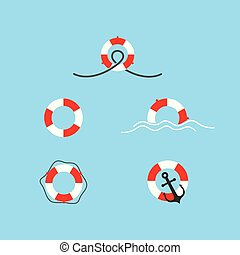 Lifebuoy icon set vector