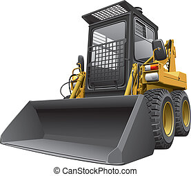 Detailed vectorial image of light-brown skid steer loader, isolated on white background. Contains gradients.