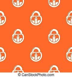 Lock vintage pattern vector orange