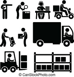 A set of pictogram about logistic business.