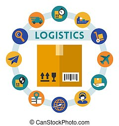 Logistics related vector infographic, flat style