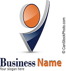 Logo 3d abstract dynamic shape, black and orange, vector.