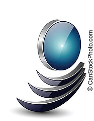 Logo abstract dynamic shape, black and blue vector.