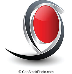 Logo abstract shape, black and red vector.