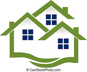 Logo houses and waves real estate