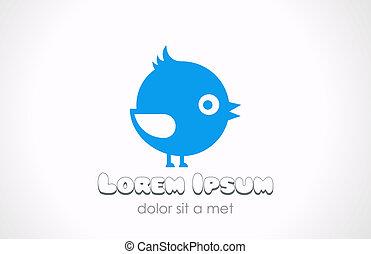 Logo little funny fat bird abstract. Children fun concept.