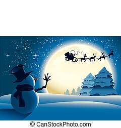 Lonely Snowman waving to Santa in a distance with a full moon background.