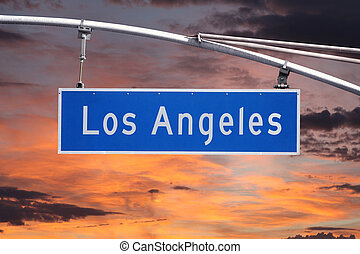Los Angeles Street Sign with Sunrise Sky