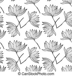 Lotus Flowers Seamless Pattern