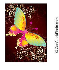 Love butterfly on gold background, vector illustration