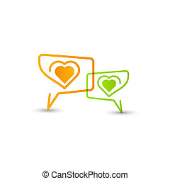 Love. Concept speech bubbles with heart