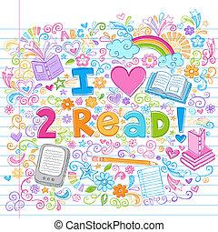 Love to Read Sketchy Doodles Vector