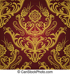 Luxury seamless red & gold floral damask wallpaper. This image is a vector illustration