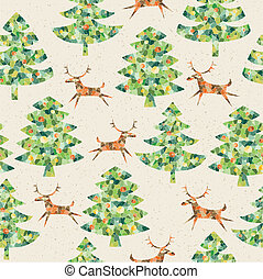 Christmas Trees Forest with Reindeer seamless pattern