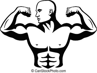 Male Bodybuilder Flexing Muscles Isolated Vector Illustration