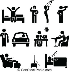 A set of pictogram about a man daily activity