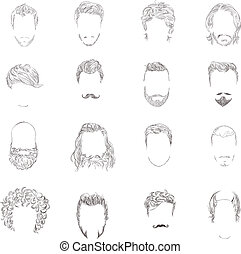 Hand drawn man male avatars set with haircut styles isolated vector illustration