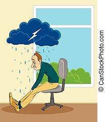 Vector illustration of a man in depression