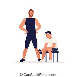 Man training in sport gym with coach trainer. Bicep curl, bodybuilding, personal physical exercise, dumbbell work out. Fitness lifestyle. Flat vector cartoon illustration isolated on white background