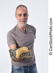 man with chicken meat on white background
