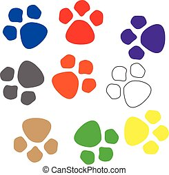 Many colorful paw prints