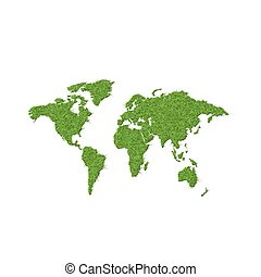 Map of world from green grass