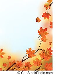 Maple Tree Leaves against blue sky. EPS 8 vector file included