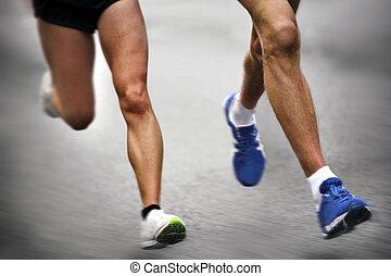 Marathon runners - blurred motion