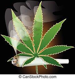 Illustration of marijuana as a symbol of the drug.