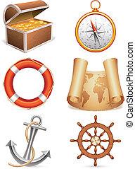Set of 6 marine icons.