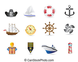Marine, Sailing and naval icons for design