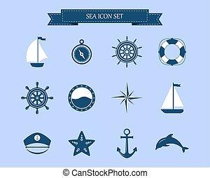 Marine symbol. Nautical design elements.