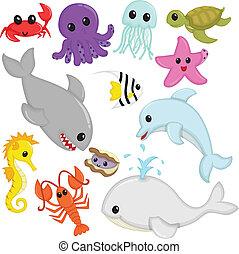 A vector illustration of marine wildlife animals cartoon