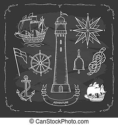Set elements for design in a Maritime style. Painted by hand on the chalk Board, vector illustration.