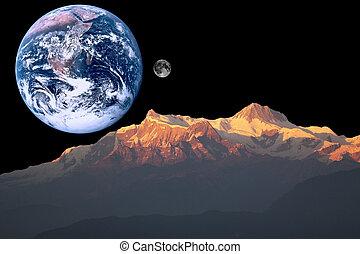 Mars, Earth and Moon