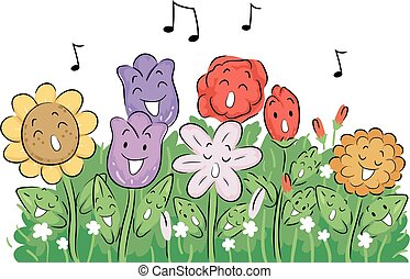 Mascot Flowers Sing Garden Illustration