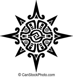 Mayan or Incan symbol of a sun or star, isolated on white. Great for tattoo or artwork