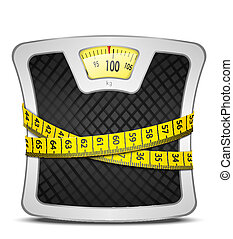 Measuring tape wrapped around bathroom scales. Concept of weight loss, diet, healthy lifestyle. Vector illustration EPS10.