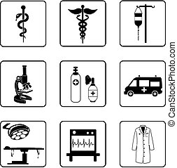 Medical symbols and equipment silhouettes