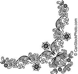 Hand-Drawn henna Mehndi Abstract Flowers. Vector illustration.