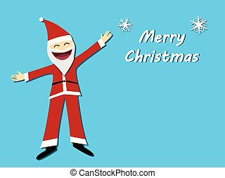 Merry christmas card with santa claus in flat