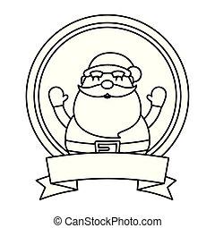 merry christmas santa claus with circular frame