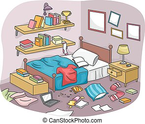 Illustration of a Disorganized Room Littered With Pieces of Trash
