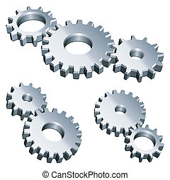 Three groups of metal gears.
