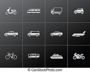 Transportation icon series in metallic style.